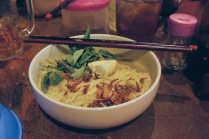 Yellow broth laksa w/ chicken.