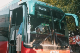Red-turqoise bus