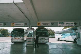 The bus parking area