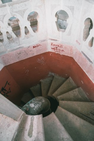 The stairs in the red tower